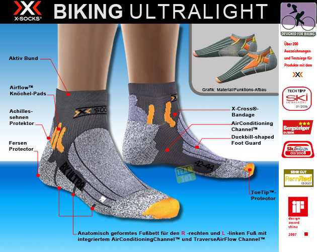 X-Socks Radsocken BIKING ULTRALIGHT anthrazit/orange