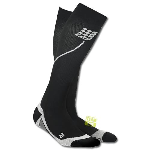 CEP Damen Kompressionssocken Pro+ Run Socks 2.0 schwarz / grau