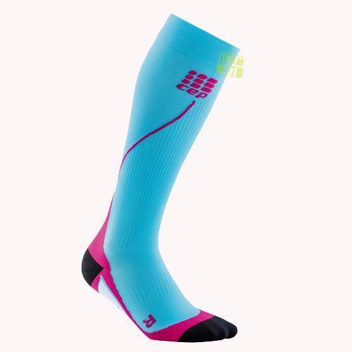 CEP Damen Kompressionssocken Pro+ Run Socks 2.0 hawaii-blau/pink
