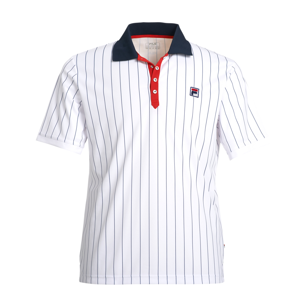 Fila Herren Tennis Polo Shirt Stripes weiß
