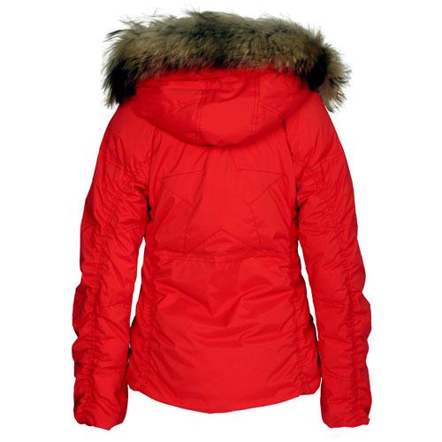 jetset damen daunenjacke winterjacke alaska fur rot ebay. Black Bedroom Furniture Sets. Home Design Ideas