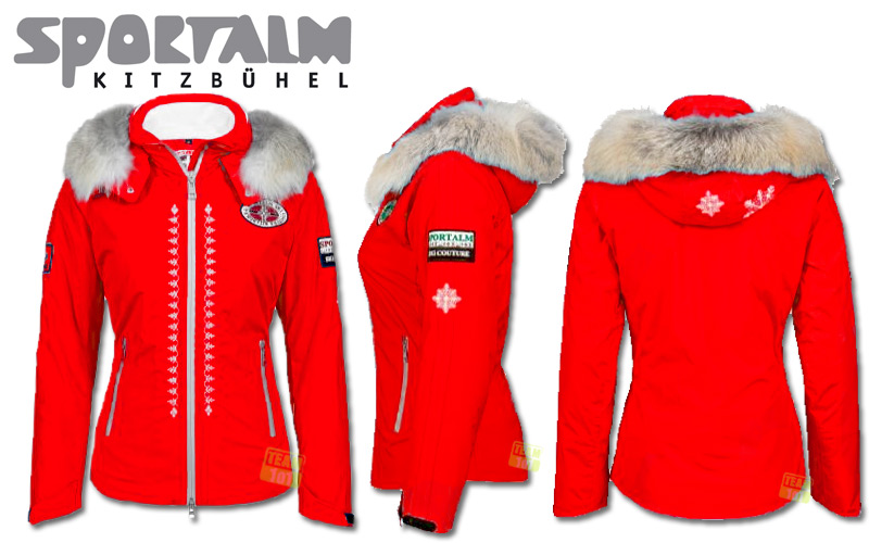 sportalm damen winter skijacke miriam mit kapuze pelz rot ebay. Black Bedroom Furniture Sets. Home Design Ideas
