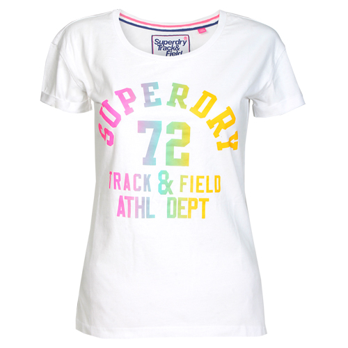 Superdry Damen T-Shirt TRACKSTER SLIM BF TEE weiss