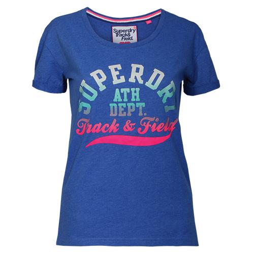 Superdry Damen T-Shirt TRACKSTER SLIM BF TEE blau