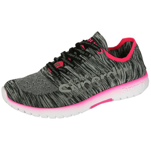 Superdry Damen Laufschuhe Fitnessschuhe SUPERKNIT SPRINT grau/pink