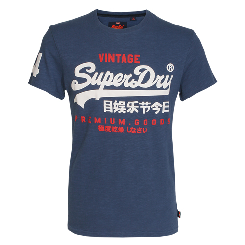 Superdry Herren T-Shirt PREMIUM GOODS DUO blau