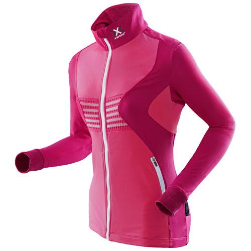 X-Bionic Damen 2nd Layer Skijacke Pullover Funktionsjacke Raccoon pink weiß